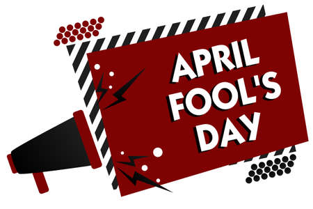 Conceptual hand writing showing April Fool s is Day. Business photo text Practical jokes humor pranks Celebration funny foolish Multiple text pattern red rectangle plate sound speaker design 스톡 콘텐츠