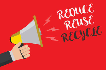 Writing note showing Reduce Reuse Recycle. Business photo showcasing ways can eliminate waste protect your environment Hand small loud speaker sound public message issue text announcement 免版税图像