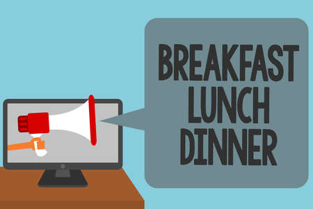 Word writing text Breakfast Lunch Dinner. Business concept for eating your meals at different period of day Alarming convey script announcement message warning signals sound speakers Фото со стока