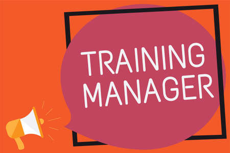 Conceptual hand writing showing Training Manager. Business photo text giving needed skills for high positions improvement Remember message public announcement think idea brain storming