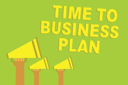 Word writing text Time To Business Plan. Business concept for organizing schedule for work Marketing product Three sound loud speaker multiple lines text message social networking Stock Photo