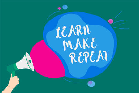 Word writing text Learn Make Repeat. Business concept for Once you do it will be easy fast learner fix mistakes Convey message idea speaker alarm announcement cloudy pattern design Archivio Fotografico