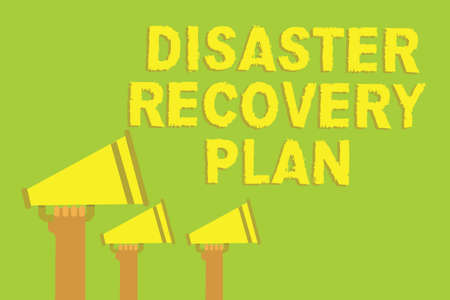 Word writing text Disaster Recovery Plan. Business concept for having backup measures against dangerous situation Three sound loud speaker multiple lines text message social networking Stock Photo
