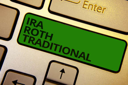 Word writing text Ira Roth Traditional. Business concept for are tax deductible on both state and federal Computer learn software program keyboard button symbol typing office work
