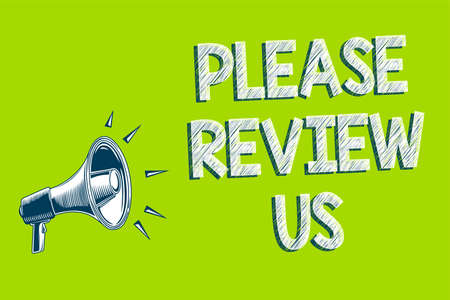 Writing note showing Please Review Us. Business photo showcasing Give a feedback Opinion Comments Quality of service Artwork convey message speaker alarm announcement green background Stock Photo