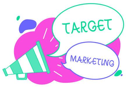 Writing note showing Target Marketing. Business photo showcasing Audience goal Chosen clients customers Advertising Creative multiple bubble cloudy curly design text lines messages idea Stock Photo