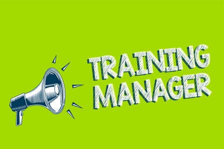 Writing note showing Training Manager. Business photo showcasing giving needed skills for high positions improvement Artwork convey message speaker alarm announcement green background Stock Photo