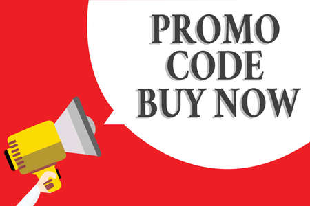 Word writing text Promo Code Buy Now. Business concept for Giving great discount by entering special words Announcement speaker script convey idea alarming signal message warning