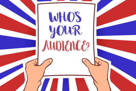 Conceptual hand writing showing Who s is Your Audience question. Business photo showcasing asking someone about listeners category Coaching White paper handwritten lines text blue red waves pattern Stok Fotoğraf