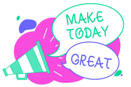 Writing note showing Make Today Great. Business photo showcasing Motivation for a good day Inspiration Positivity Happiness Creative multiple bubble cloudy curly design text lines messages idea