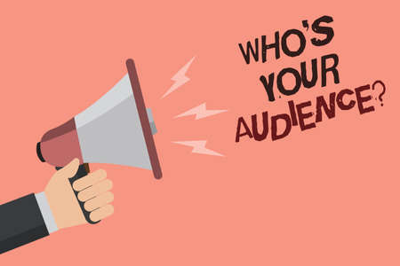 Word writing text Who s is Your Audience question. Business concept for asking someone about listeners category Coaching Convey message recall idea notice remind speaker declare announcement Stock fotó
