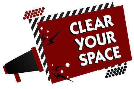 Conceptual hand writing showing Clear Your Space. Business photo text Clean office studio area Make it empty Refresh Reorganize Multiple text pattern red rectangle plate sound speaker design