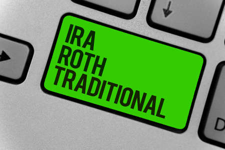 Conceptual hand writing showing Ira Roth Traditional. Business photo showcasing are tax deductible on both state and federal Computer program keyboard typing office work input device