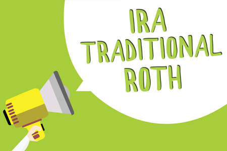 Text sign showing Ira Traditional Roth. Conceptual photo are tax deductible on both state and federal Multiline text message idea convey report sound speaker announcement Stock Photo