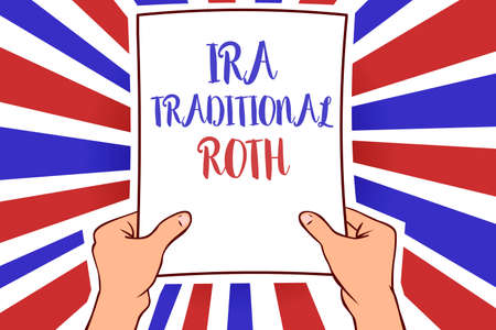 Conceptual hand writing showing Ira Traditional Roth. Business photo showcasing are tax deductible on both state and federal White paper handwritten lines text blue red waves pattern Stock Photo