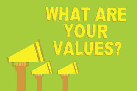 Word writing text What Are Your Values question. Business concept for asking someone about his good qualities Three sound loud speaker multiple lines text message social networking