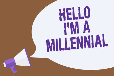 Text sign showing Hello I am A Millennial. Conceptual photo person reaching young adulthood in current century Hot issue announcement attention recall warning notice public message Standard-Bild