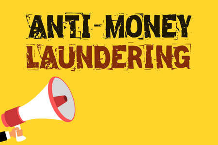 Handwriting text writing Anti Money Laundering. Concept meaning stop generating income through illegal actions Multiline text notice board recall reassure public message yellow surface