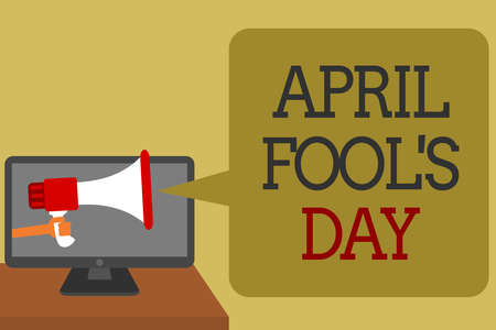 Text sign showing April Fool s is Day. Conceptual photo Practical jokes humor pranks Celebration funny foolish Social media network convey lines messages ideas computer screen use
