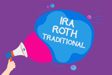 Writing note showing Ira Roth Traditional. Business photo showcasing are tax deductible on both state and federal Convey messages ideas sound speaker announcement cloudy pattern design