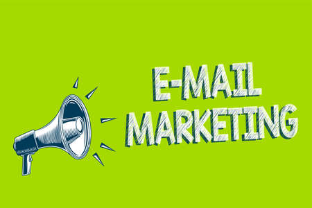 Writing note showing E Mail Marketing. Business photo showcasing E-commerce Advertising Online sales Newsletters Promotion Artwork convey message speaker alarm announcement green background Stock Photo