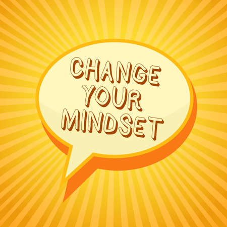 Writing note showing Change Your Mindset. Business photo showcasing replace your beliefs way of thinking mental path Reporting thinking ponder circle warning capital ideas symbol scripts Stock Photo