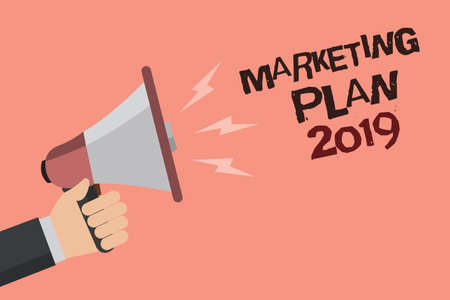 Word writing text Marketing Plan 2019. Business concept for schedule defining brand selling way in next year Convey message recall idea notice remind speaker declare announcement Standard-Bild