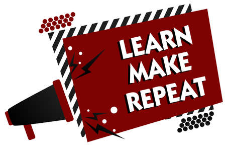 Conceptual hand writing showing Learn Make Repeat. Business photo text Once you do it will be easy fast learner fix mistakes Multiple text pattern red rectangle plate sound speaker design Archivio Fotografico