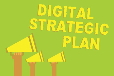Word writing text Digital Strategic Plan. Business concept for creat schedule for marketing product or brand Three sound loud speaker multiple lines text message social networking
