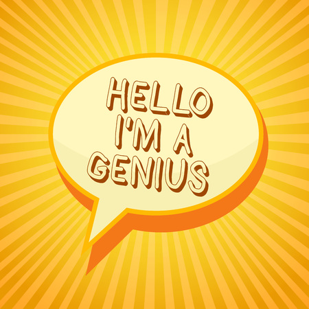 Writing note showing Hello I am A Genius. Business photo showcasing Introduce yourself as over average person to others Reporting thinking ponder circle warning capital ideas symbol scripts Stock Photo