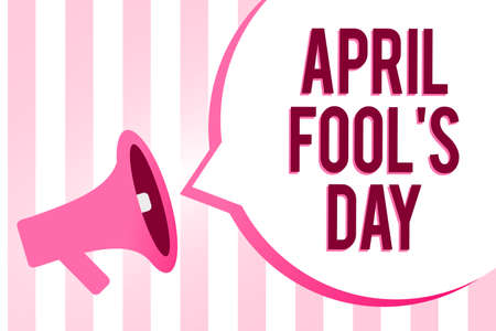 Conceptual hand writing showing April Fool s is Day. Business photo showcasing Practical jokes humor pranks Celebration funny foolish Sound speaker convey messages ideas multiline text design 스톡 콘텐츠