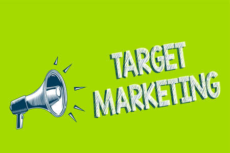 Writing note showing Target Marketing. Business photo showcasing Audience goal Chosen clients customers Advertising Artwork convey message speaker alarm announcement green background