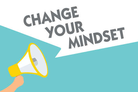 Conceptual hand writing showing Change Your Mindset. Business photo text replace your beliefs way of thinking mental path Symbol alarming speaker signals indication warning announcement Stock Photo
