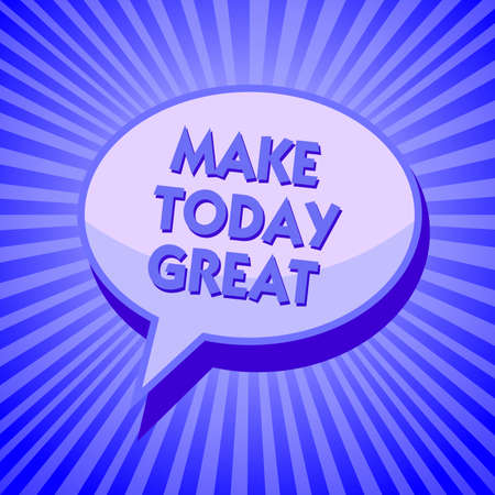 Writing note showing Make Today Great. Business photo showcasing Motivation for a good day Inspiration Positivity Happiness Sparkling waves design script text lines ponder ideas convey message