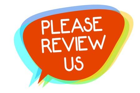 Konzeptionelle Handschrift zeigt Bitte überprüfen Sie uns. Business-Foto-Präsentation Feedback geben Meinung Kommentare Servicequalität Mehrzeilige Textebene Design-Muster roter Hintergrund denken