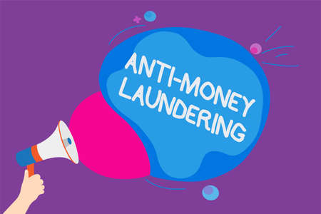 Writing note showing Anti Money Laundering. Business photo showcasing stop generating income through illegal actions Convey messages ideas sound speaker announcement cloudy pattern design