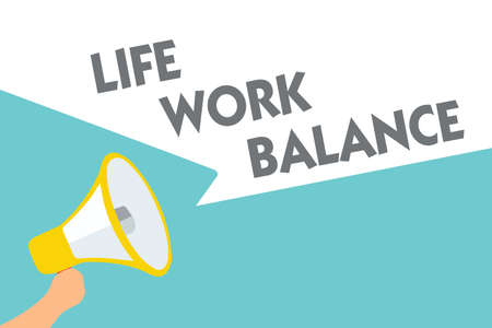 Conceptual hand writing showing Life Work Balance. Business photo text stability person needs between his job and personal time Symbol alarming speaker signals indication warning announcement Stock Photo
