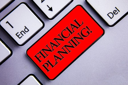 Word writing text Financial Planning Motivational Call. Business concept for Accounting Planning Strategy Analyze Display several silvery arrow key focused red button with black letters