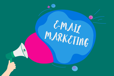 Word writing text E Mail Marketing. Business concept for E-commerce Advertising Online sales Newsletters Promotion Convey message idea speaker alarm announcement cloudy pattern design