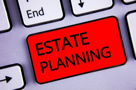 Text sign showing Estate Planning. Conceptual photo Insurance Investment Retirement Plan Mortgage Properties Keyboard red key black letters words Intention create text on computer Stock Photo