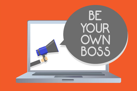 Writing note showing Be Your Own Boss. Business photo showcasing Entrepreneurship Start business Independence Self-employed Network message social media issue public speaker declare announcement Stock Photo