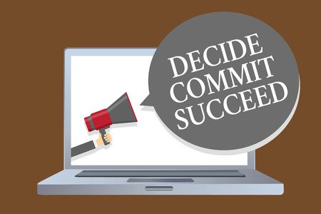 Text sign showing Decide Commit Succeed. Conceptual photo achieving goal comes in three steps Reach your dreams Laptop desktop speaker alarming warning sound announcements indication idea Stock Photo