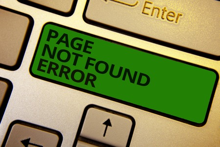 Word writing text Page Not Found Error. Business concept for message appears when search for website doesnt exist Computer learn software program keyboard button symbol typing office work Stock Photo
