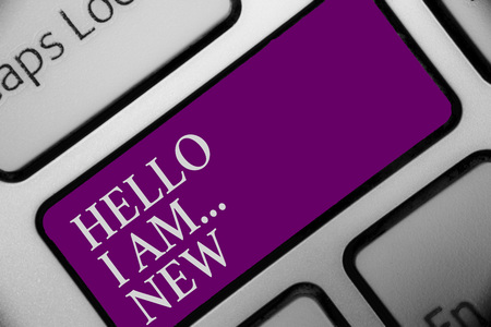 Handwriting text Hello I Am... New. Concept meaning Introduce yourself Meeting Greeting Work Fresh worker School Keyboard button hit key type message office work computer input device Stock Photo