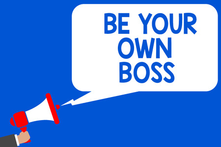 Word writing text Be Your Own Boss. Business concept for Entrepreneurship Start business Independence Self-employed Multiple lines blue script message declare public speaker announcement Stock Photo