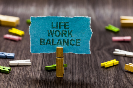 Text sign showing Life Work Balance. Conceptual photo stability person needs between his job and personal time Clips symbol idea script notice board text capital cardboard design