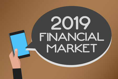 Word writing text 2019 Financial Market. Business concept for place where trading of equities, bonds, currencies Mobile text message messenger smart touch typing social media network