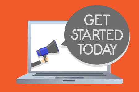 Writing note showing Get Started Today. Business photo showcasing lets do it Dont hesitate Now or never Get going No delay Network message social media issue public speaker declare announcement