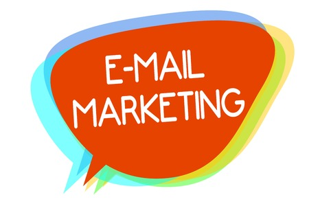 Conceptual hand writing showing E Mail Marketing. Business photo showcasing E-commerce Advertising Online sales Newsletters Promotion Multiline text layer design pattern red background think Stock Photo