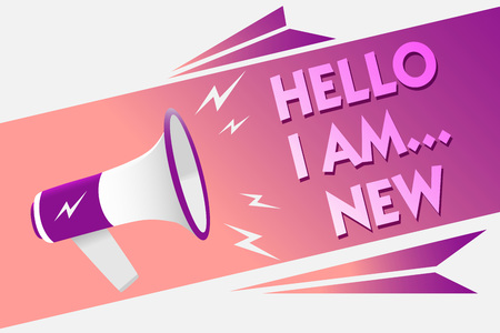 Writing note showing Hello I Am... New. Business photo showcasing Introduce yourself Meeting Greeting Work Fresh worker School Sound speaker convey messages ideas three text lines logo type design Stock Photo
